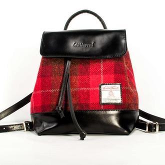 Harris Tweed рюкзак Leattweed Bernas red tartan
