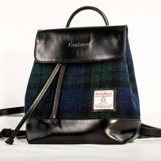 Harris Tweed рюкзак Leattweed Bernas black watch