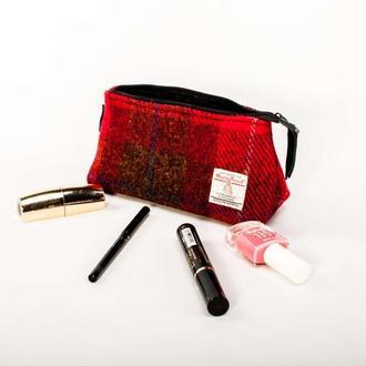 Harris Tweed косметичка Leattweed red tartan