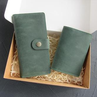 Набор кошелек и обложка на паспорт из натуральной кожи_подарок жене, подарок женщине_зеленый