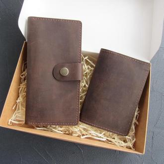 Набор кошелек и обложка на паспорт из натуральной кожи_подарок мужчине, подарок мужу_шоколад