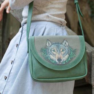 Шкіряна сумочка в етно стилі з лляної вставкою і розписом
