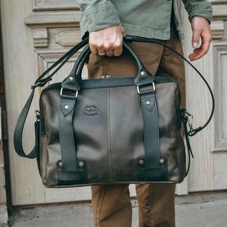 Кожаная мужская сумка, Коричневый портфель для ноутбука