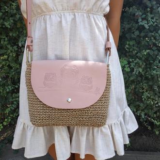 Стильная сумка через плечо. Кроссбоди цвет Пудра