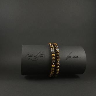 Чоловічий чокер & браслет з тигрового ока і срібла 925 пр.
