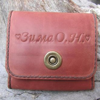 женский кожаный кошелек,коричневый с монетницей кошелек