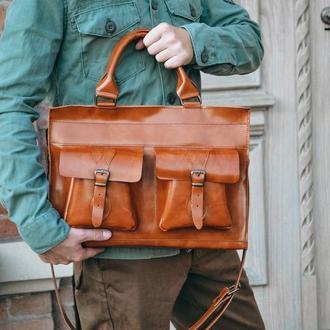Коричневая мужская сумка из итальянской кожи