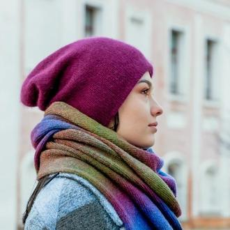 Двойная шапка из ангоры. Теплая зимняя шапка. Шапка чулок