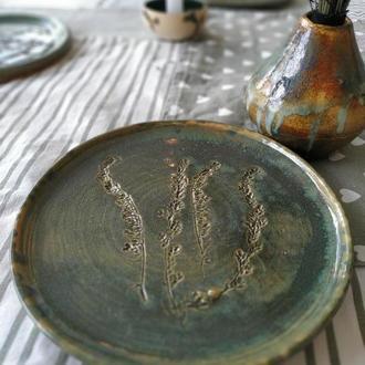 Обеденная тарелка с оттиском цветов, стильная тарелка для ресторана, оригинальная зеленая тарелка
