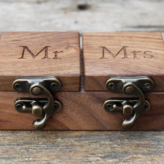 Свадебная деревянная шкатулка для обручальных колец с персональной гравировкой для церемонии