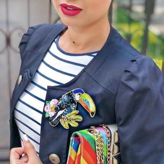 Брошь птица на пиджак или свитер с двумя застежками для идеальной фиксации