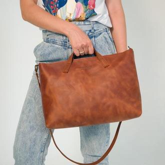 Шкіряна сумка BELLA, жіноча велика сумка, кожаная сумка ручной работы, сумка из кожи Крейзи Хорс