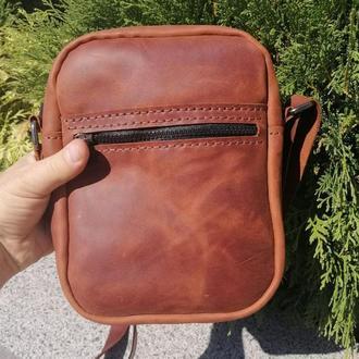 Мужская кожаная сумка из натуральной кожи  Revier на 14 октября, подарок на день защитника Украины