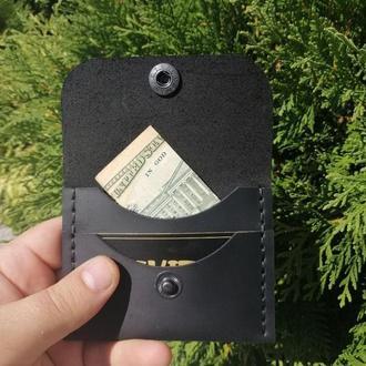 Мини-кошелек коричневый из натуральной кожи  Revier на 14 октября, подарок на день защитника Украины
