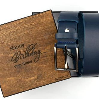 Синий кожаный ремень, Ремень для джинс, Кожаный ремень на подарок, Именной ремень