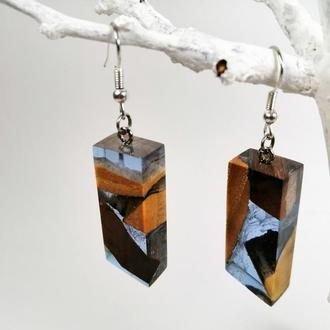 Стильные серьги лавандовго цвета ( древесина и ювелирная смола) - что подарить девушке