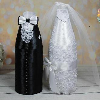 Съемные украшения для свадебного шампанского Жених Невеста в черно-белом