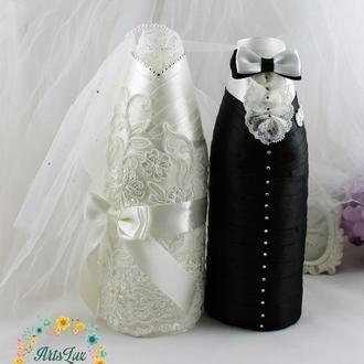 Съемные украшения для свадебного шампанского Жених-Невеста айворичерный