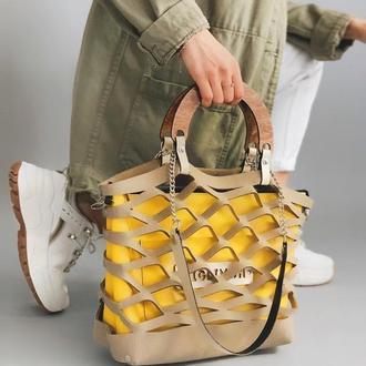 Стильная женская сумочка-авоська FIGLIMON Wonder| бежевая