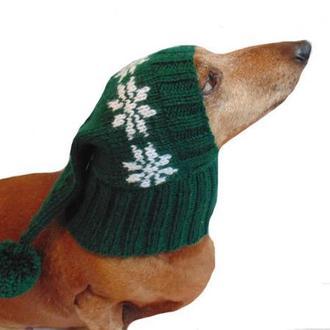 Одежда для собаки шапка универсальная вязанная