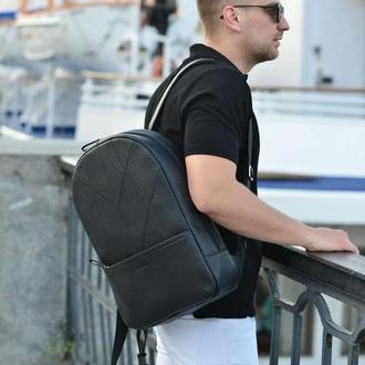 Городской черный кожаный рюкзак