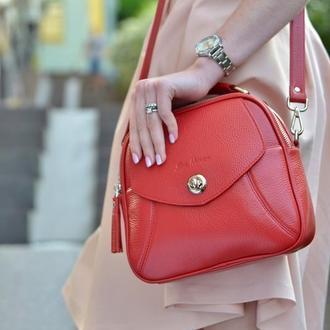 Женская кожаная сумочка красная