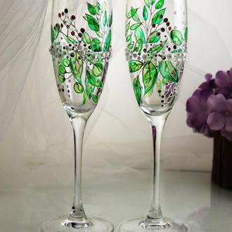 Свадебные бокалы с эксклюзивной витражной росписью и жемчугом