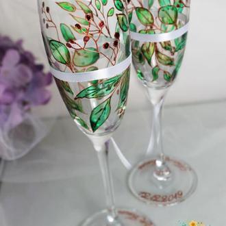 Свадебные бокалы с эксклюзивной витражной