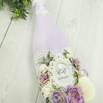 Свадебное шампанское лавандовое / Оформление шампанского / Весільне шампаське фіолетове