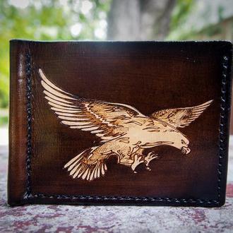 Купить зажим для денег, зажим для купюр с рисунком, Ястреб на кожаном зажиме, подарить зажим