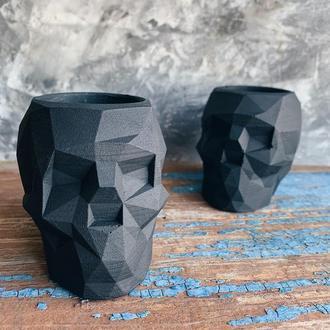 Череп з бетону (кашпо, горщик для сукулентів та кактусів; подарунок, органайзер для канцелярії)