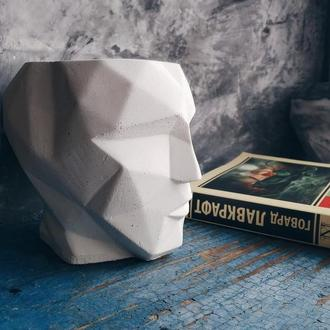 АТЛАНТ (глава скандинавского мужа) из бетона + стабилизированный мох Ягель (декор, лофт)