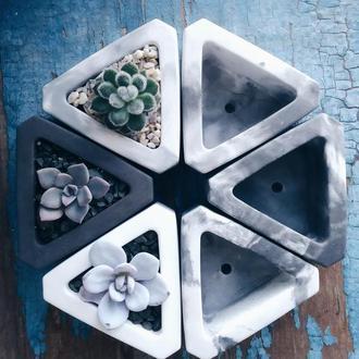 Треугольник из бетона (декор, лофт, кашпо, горшок для суккулентов и кактусов)