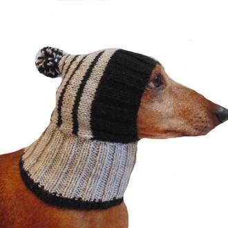 Шапка для собаки вязанная с помпоном