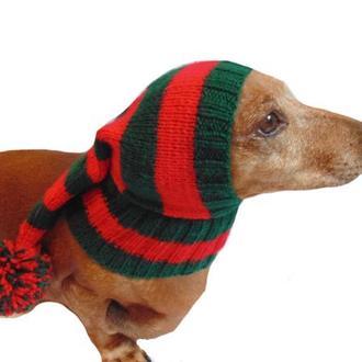 Шапка Санты для маленькой собаки с большим помпоном