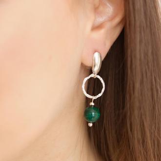 Серебряные серьги с натуральным  зеленым малахитом, Подарок для девушки