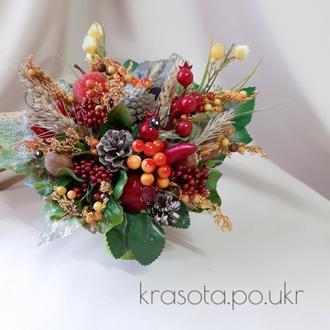 Осіння композиція в червоно-бордових тонах від Krasota Po Ukr