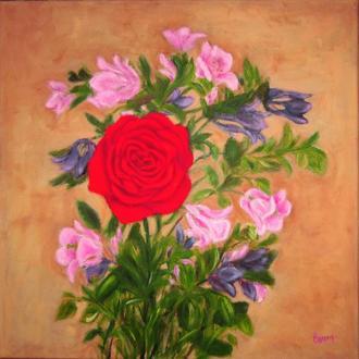 Картина маслом на холсте Роза и аквилегии