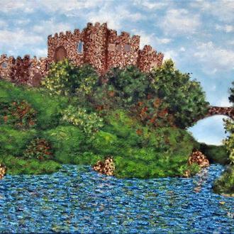Картина маслом на холсте Замок осенью