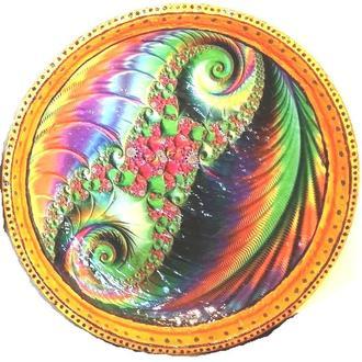 Декоративная тарелка диаметром 42 см «Две Спирали» шамотной трипольской глины станет изысканным