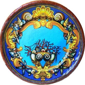 """Блюдо керамика тарелка """"SEA"""" 42 см настенная большая"""