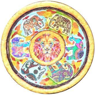 """Тарелка """"Слоны"""" 42 см керамика настенная большая Блюдо керамическое"""