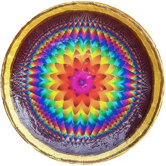 """Декоративная тарелка диаметром 42 см """"Солнцесияние 12"""" шамотной трипольской глины"""