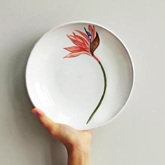 Тарелка с Стрелітцією ( Райский цветок ). 23 см
