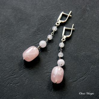 Серебряные серьги с розовым кварцем, серебряные серьги с камнями, ювелирные серьги