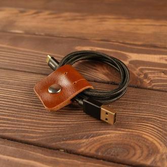 Фиксатор зажим для наушников, проводов (коричневая гладкая кожа)