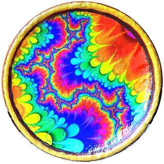 """Декоративная тарелка диаметром 42 см из """"Солнцесияние 2"""" шамотной трипольской глины"""