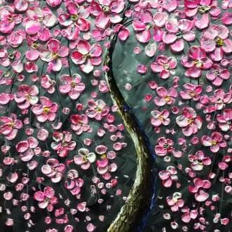Картина «Дерево жизни» (розовый с серым) 30*40