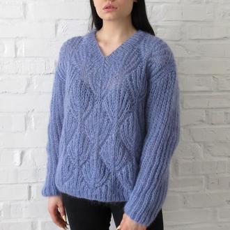 Свитер голубой вязаный, женский свитер из мохера, пулловер с листиками
