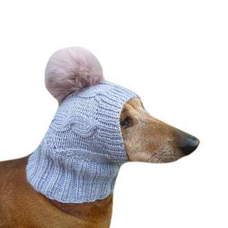 Вязанная шапка для собаки с помпоном кролик